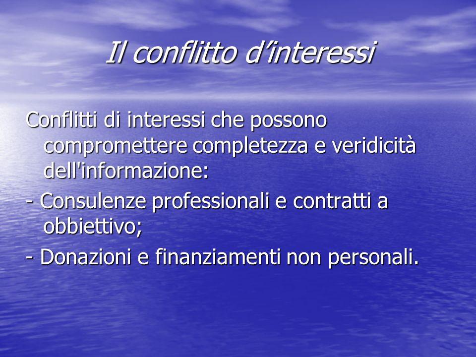 Il conflitto dinteressi Conflitti di interessi che possono compromettere completezza e veridicità dell informazione: - Consulenze professionali e contratti a obbiettivo; - Donazioni e finanziamenti non personali.