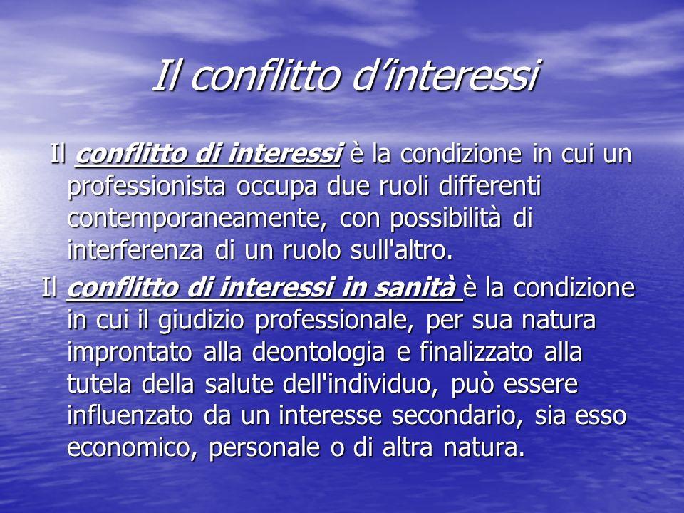 Il conflitto dinteressi Il conflitto di interessi è la condizione in cui un professionista occupa due ruoli differenti contemporaneamente, con possibilità di interferenza di un ruolo sull altro.