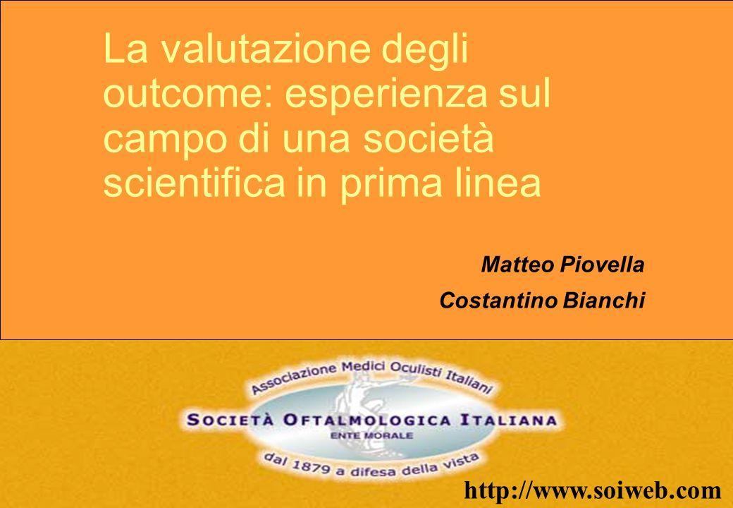 http://www.soiweb.com La valutazione degli outcome: esperienza sul campo di una società scientifica in prima linea Matteo Piovella Costantino Bianchi