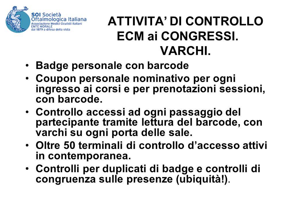 ATTIVITA DI CONTROLLO ECM ai CONGRESSI. VARCHI. Badge personale con barcode Coupon personale nominativo per ogni ingresso ai corsi e per prenotazioni