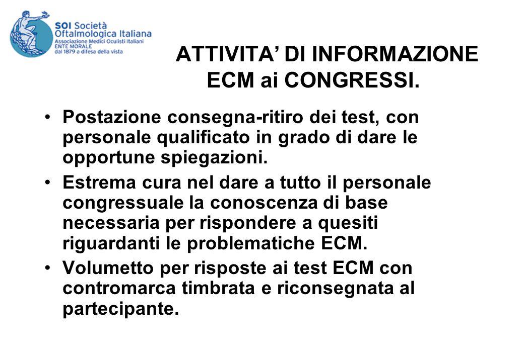 ATTIVITA DI INFORMAZIONE ECM ai CONGRESSI.