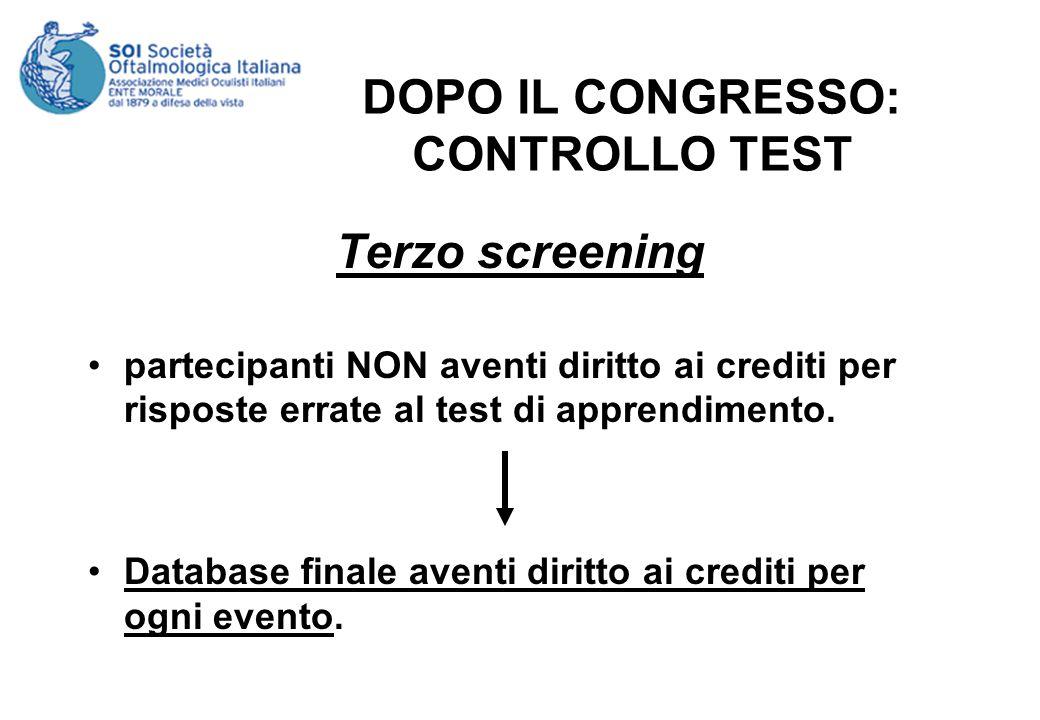 DOPO IL CONGRESSO: CONTROLLO TEST Terzo screening partecipanti NON aventi diritto ai crediti per risposte errate al test di apprendimento. Database fi