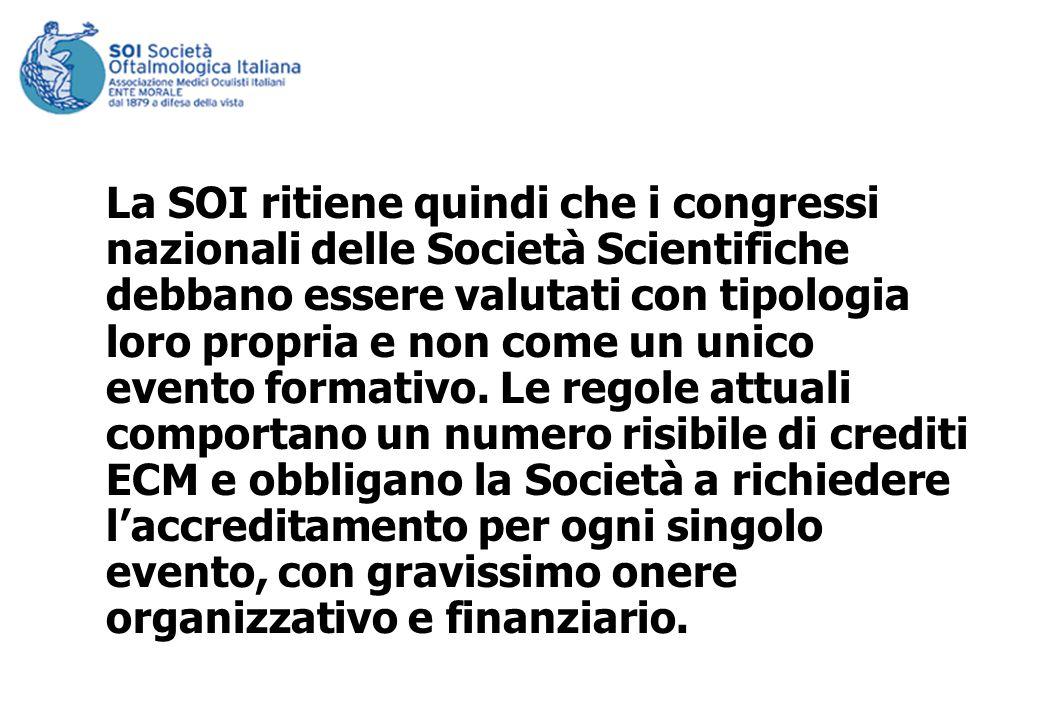 La SOI ritiene quindi che i congressi nazionali delle Società Scientifiche debbano essere valutati con tipologia loro propria e non come un unico evento formativo.