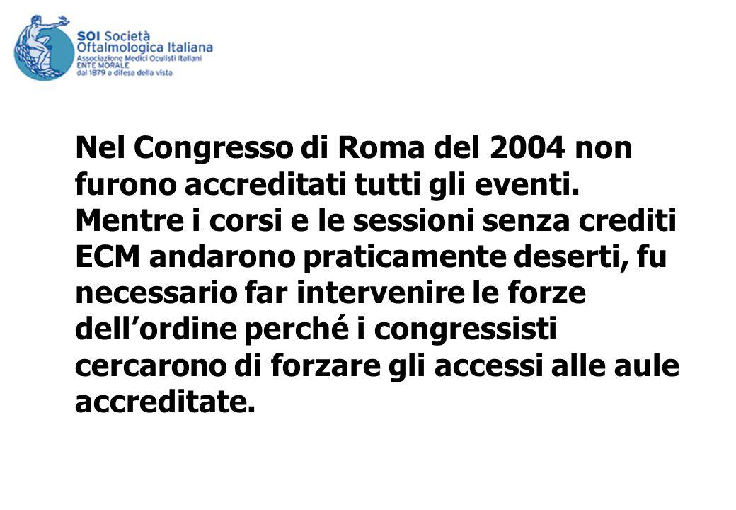 Nel Congresso di Roma del 2004 non furono accreditati tutti gli eventi. Mentre i corsi e le sessioni senza crediti ECM andarono praticamente deserti,