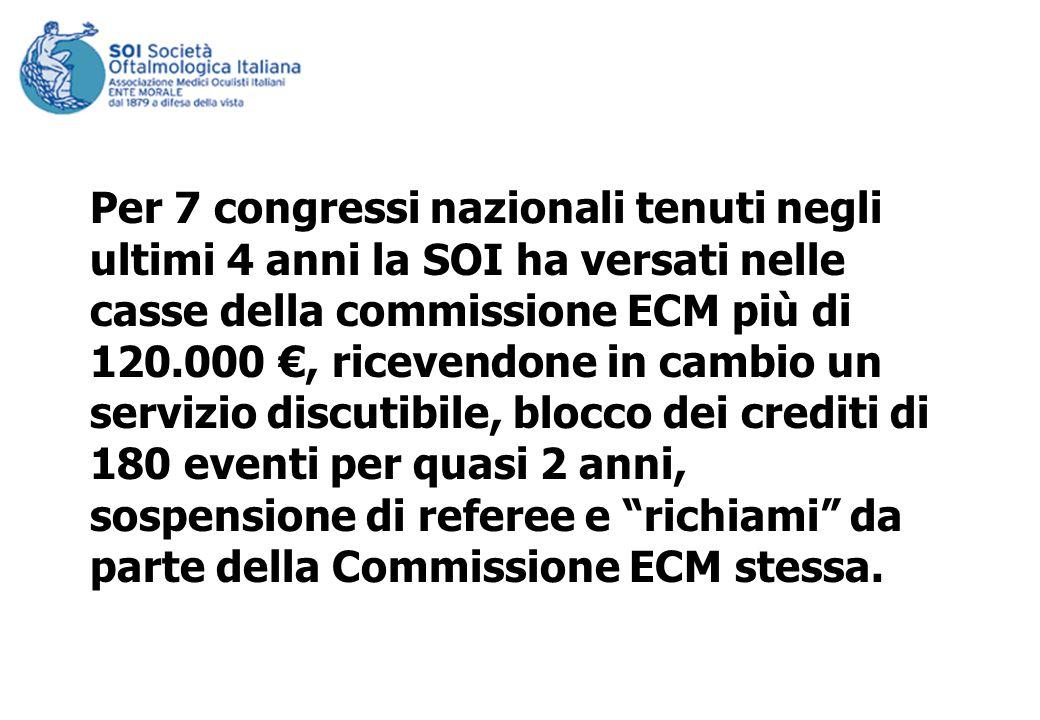 Per 7 congressi nazionali tenuti negli ultimi 4 anni la SOI ha versati nelle casse della commissione ECM più di 120.000, ricevendone in cambio un servizio discutibile, blocco dei crediti di 180 eventi per quasi 2 anni, sospensione di referee e richiami da parte della Commissione ECM stessa.