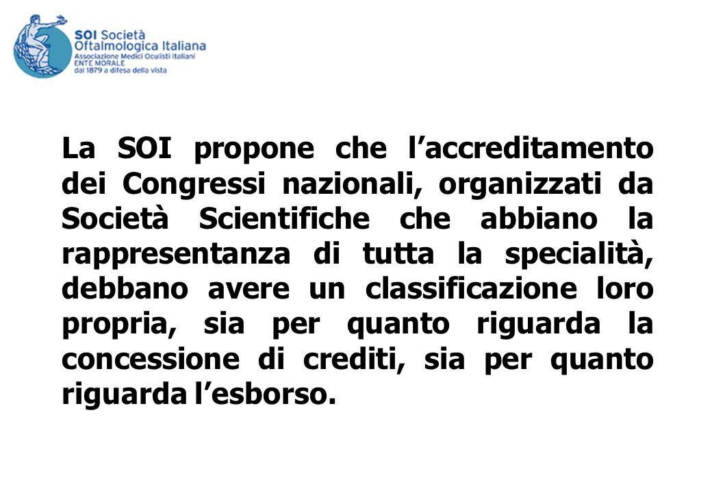 La SOI propone che laccreditamento dei Congressi nazionali, organizzati da Società Scientifiche che abbiano la rappresentanza di tutta la specialità,