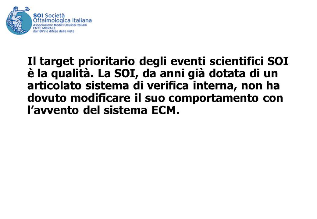 Il target prioritario degli eventi scientifici SOI è la qualità. La SOI, da anni già dotata di un articolato sistema di verifica interna, non ha dovut