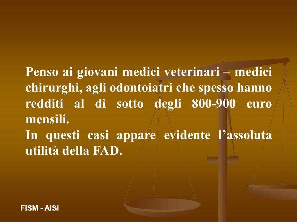 Penso ai giovani medici veterinari – medici chirurghi, agli odontoiatri che spesso hanno redditi al di sotto degli 800-900 euro mensili. In questi cas