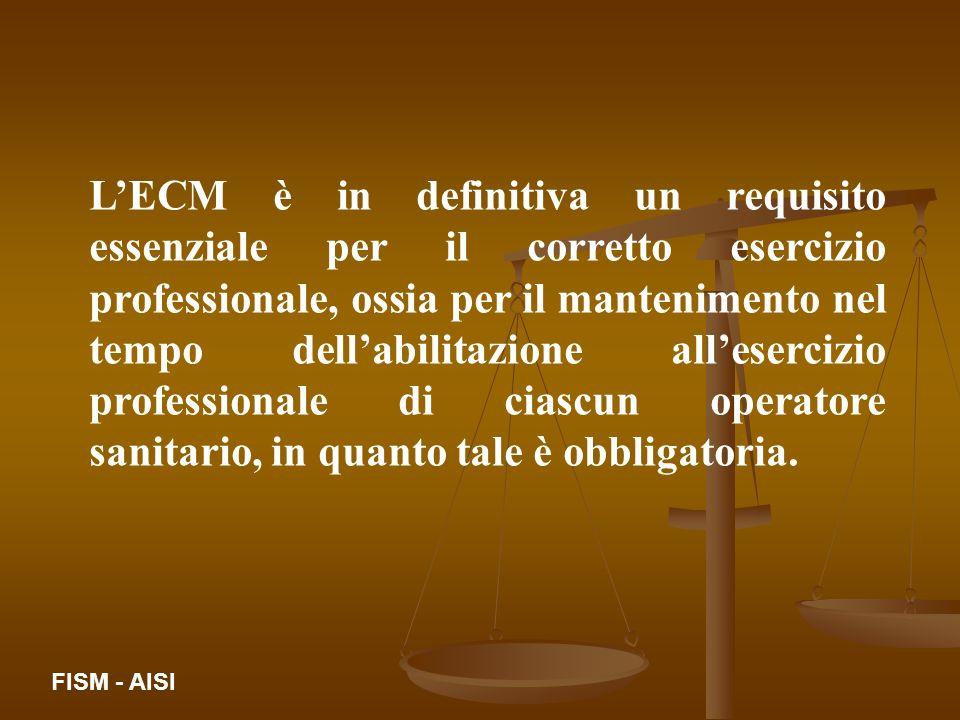LECM è in definitiva un requisito essenziale per il corretto esercizio professionale, ossia per il mantenimento nel tempo dellabilitazione allesercizi