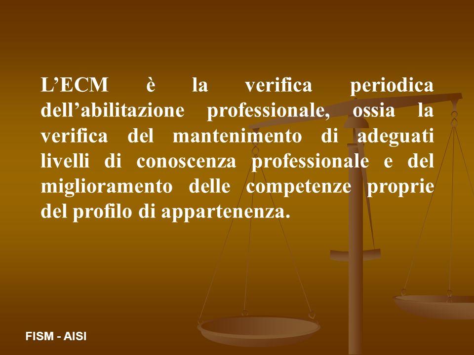 LECM è la verifica periodica dellabilitazione professionale, ossia la verifica del mantenimento di adeguati livelli di conoscenza professionale e del