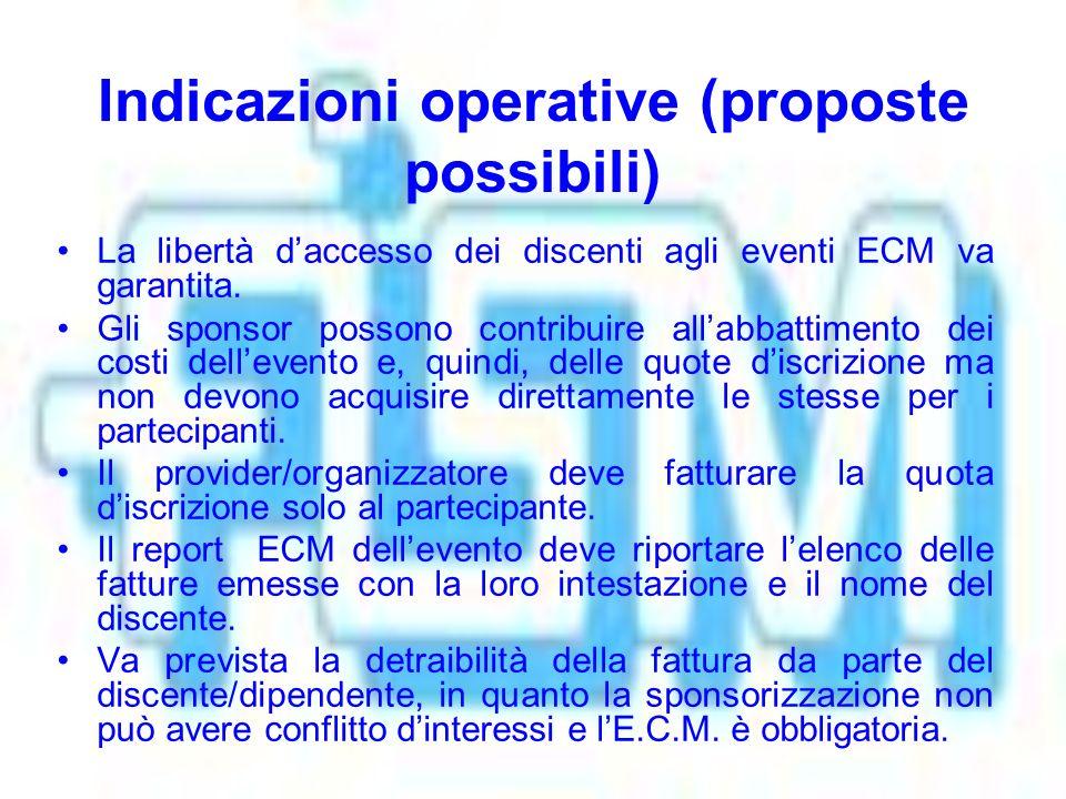 Indicazioni operative (proposte possibili) La libertà daccesso dei discenti agli eventi ECM va garantita.