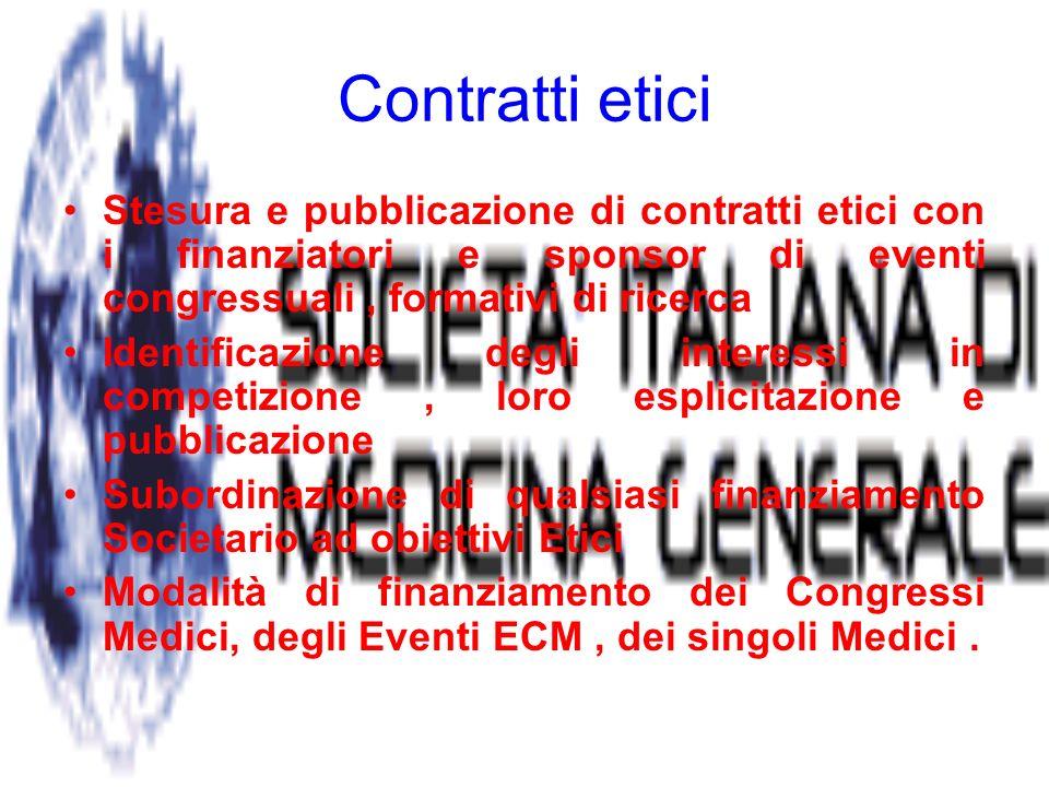 Contratti etici Stesura e pubblicazione di contratti etici con i finanziatori e sponsor di eventi congressuali, formativi di ricerca Identificazione degli interessi in competizione, loro esplicitazione e pubblicazione Subordinazione di qualsiasi finanziamento Societario ad obiettivi Etici Modalità di finanziamento dei Congressi Medici, degli Eventi ECM, dei singoli Medici.