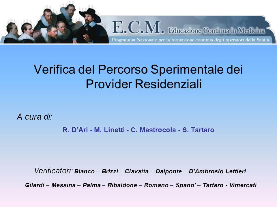 Verifica del Percorso Sperimentale dei Provider Residenziali A cura di: R.