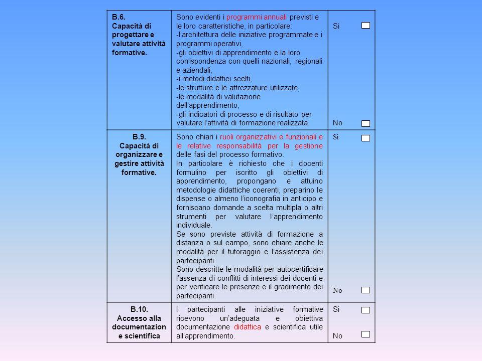 B.6. Capacità di progettare e valutare attività formative.