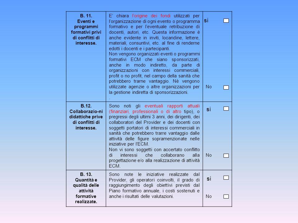 B. 11. Eventi e programmi formativi privi di conflitti di interesse.