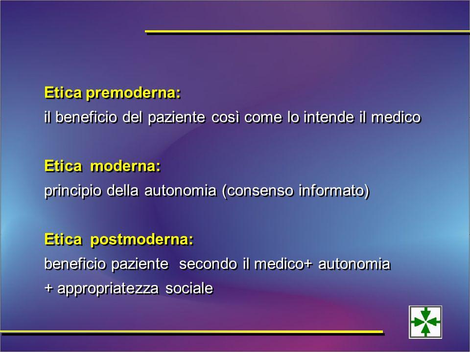 Etica premoderna: il beneficio del paziente così come lo intende il medico Etica moderna: principio della autonomia (consenso informato) Etica postmoderna: beneficio paziente secondo il medico+ autonomia + appropriatezza sociale Etica premoderna: il beneficio del paziente così come lo intende il medico Etica moderna: principio della autonomia (consenso informato) Etica postmoderna: beneficio paziente secondo il medico+ autonomia + appropriatezza sociale