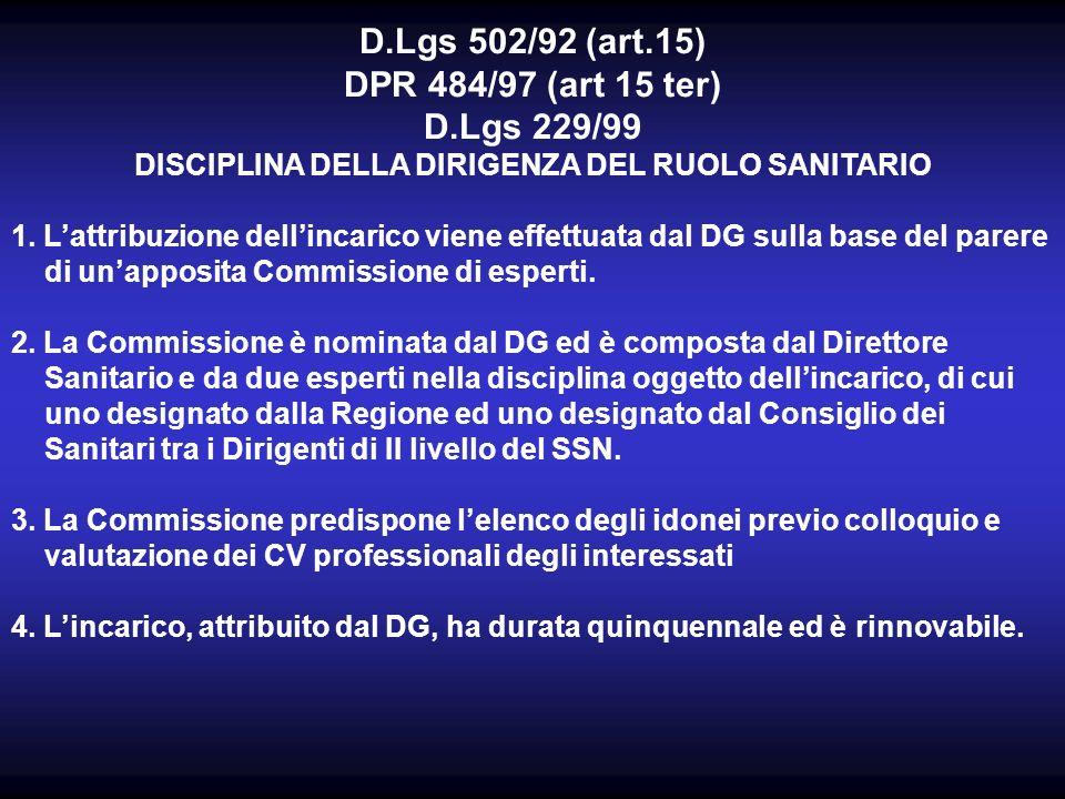 D.Lgs 502/92 (art.15) DPR 484/97 (art 15 ter) D.Lgs 229/99 DISCIPLINA DELLA DIRIGENZA DEL RUOLO SANITARIO 1.