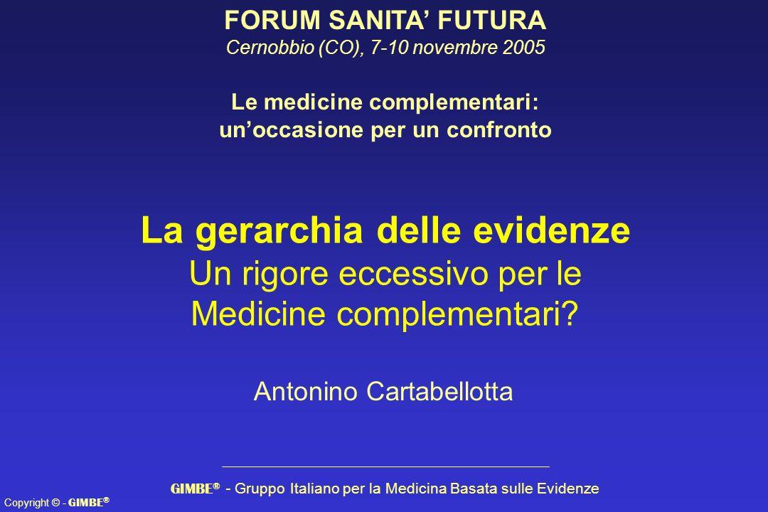 Copyright © - GIMBE ® La gerarchia delle evidenze Un rigore eccessivo per le Medicine complementari? GIMBE ® - Gruppo Italiano per la Medicina Basata