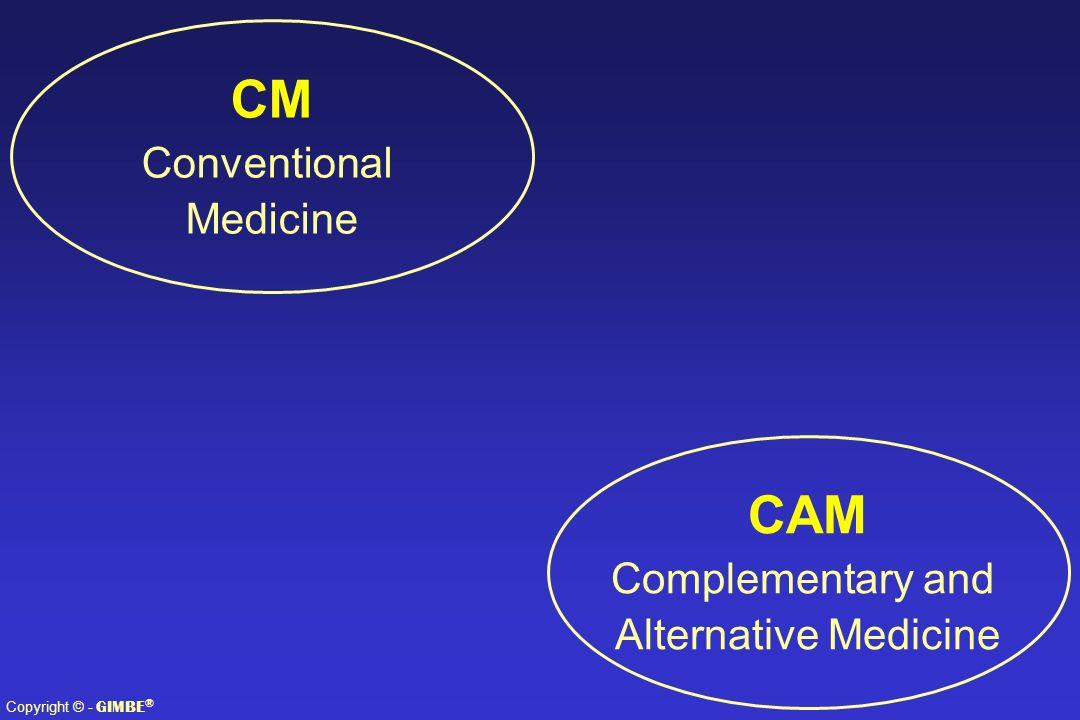 Copyright © - GIMBE ® CAM Complementary and Alternative Medicine CM Conventional Medicine