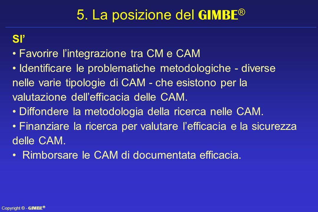 Copyright © - GIMBE ® SI Favorire lintegrazione tra CM e CAM Identificare le problematiche metodologiche - diverse nelle varie tipologie di CAM - che