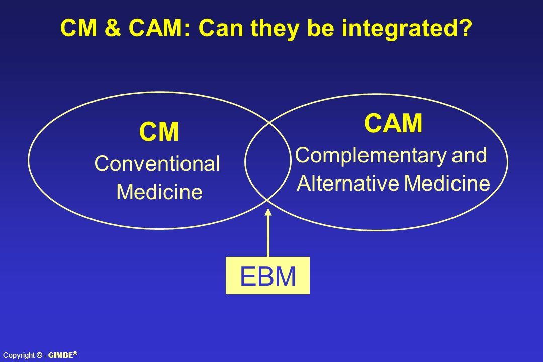 Copyright © - GIMBE ® CAM Complementary and Alternative Medicine CM Conventional Medicine EBM CM & CAM: Can they be integrated?