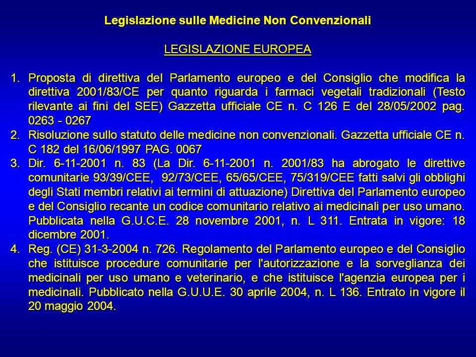 Legislazione sulle Medicine Non Convenzionali LEGISLAZIONE EUROPEA 1.Proposta di direttiva del Parlamento europeo e del Consiglio che modifica la dire