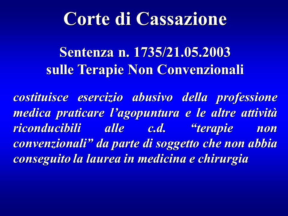 Corte di Cassazione Sentenza n. 1735/21.05.2003 sulle Terapie Non Convenzionali costituisce esercizio abusivo della professione medica praticare lagop