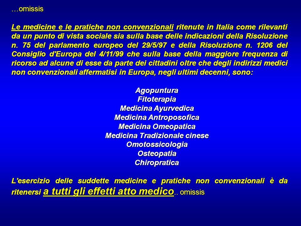 …omissis Le medicine e le pratiche non convenzionali ritenute in Italia come rilevanti da un punto di vista sociale sia sulla base delle indicazioni d
