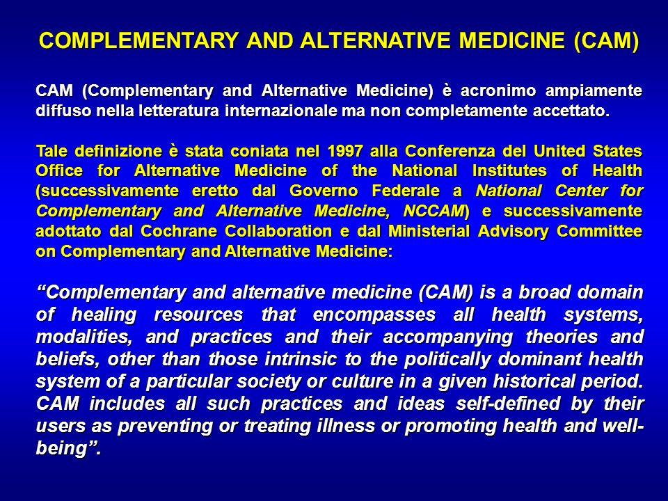 COMPLEMENTARY AND ALTERNATIVE MEDICINE (CAM) CAM (Complementary and Alternative Medicine) è acronimo ampiamente diffuso nella letteratura internaziona