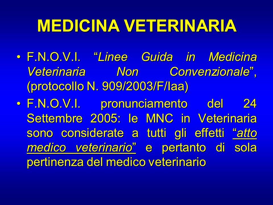 MEDICINA VETERINARIA F.N.O.V.I. Linee Guida in Medicina Veterinaria Non Convenzionale, (protocollo N. 909/2003/F/Iaa)F.N.O.V.I. Linee Guida in Medicin