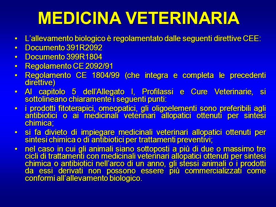 MEDICINA VETERINARIA Lallevamento biologico è regolamentato dalle seguenti direttive CEE:Lallevamento biologico è regolamentato dalle seguenti diretti