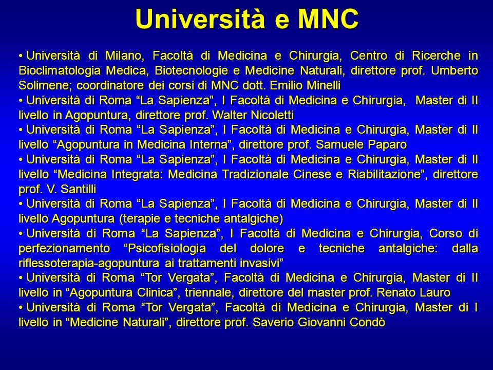 Università e MNC Università di Milano, Facoltà di Medicina e Chirurgia, Centro di Ricerche in Bioclimatologia Medica, Biotecnologie e Medicine Natural