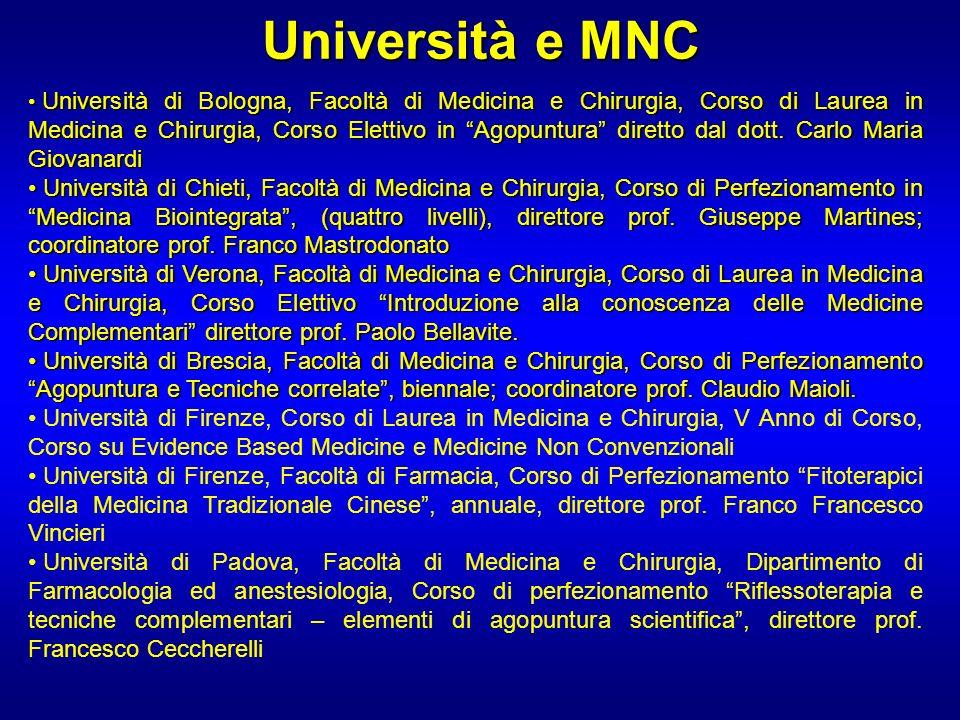 Università e MNC Università di Bologna, Facoltà di Medicina e Chirurgia, Corso di Laurea in Medicina e Chirurgia, Corso Elettivo in Agopuntura diretto