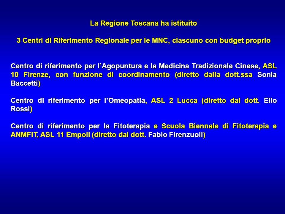 La Regione Toscana ha istituito 3 Centri di Riferimento Regionale per le MNC, ciascuno con budget proprio Centro di riferimento per lAgopuntura e la M