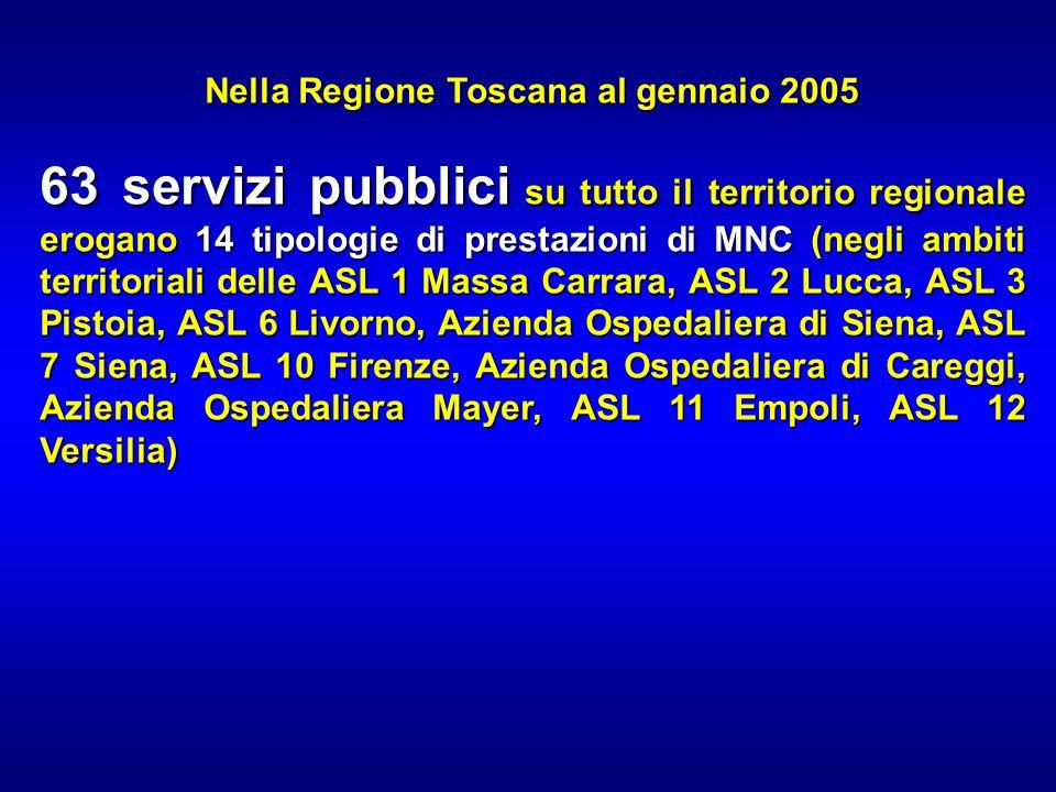 Nella Regione Toscana al gennaio 2005 63 servizi pubblici su tutto il territorio regionale erogano 14 tipologie di prestazioni di MNC (negli ambiti te