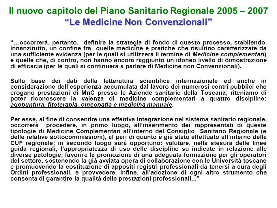 Le Medicine Non Convenzionali Il nuovo capitolo del Piano Sanitario Regionale 2005 – 2007 Le Medicine Non Convenzionali …occorrerà, pertanto, definire