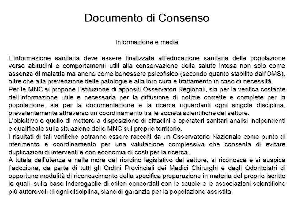 Documento di Consenso Informazione e media Linformazione sanitaria deve essere finalizzata alleducazione sanitaria della popolazione verso abitudini e