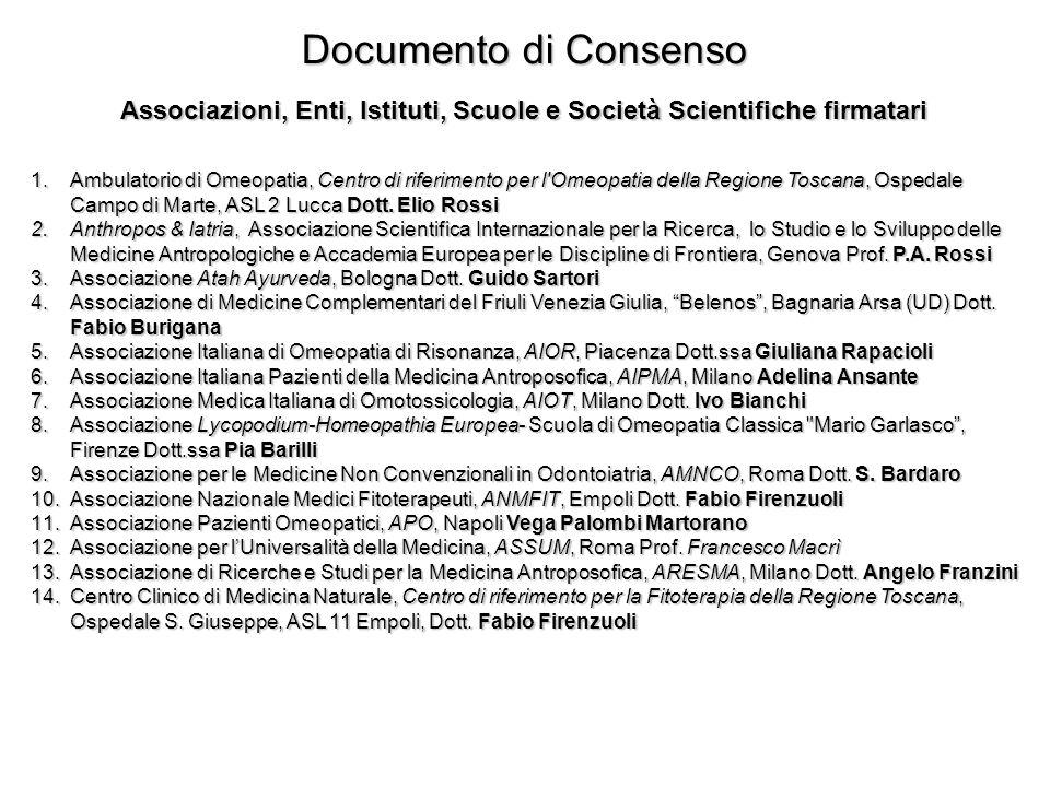 Documento di Consenso Associazioni, Enti, Istituti, Scuole e Società Scientifiche firmatari 1.Ambulatorio di Omeopatia, Centro di riferimento per l'Om