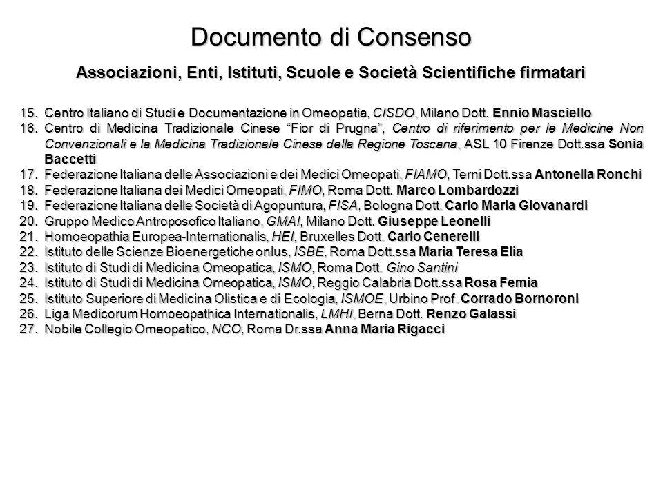 Documento di Consenso Associazioni, Enti, Istituti, Scuole e Società Scientifiche firmatari 15.Centro Italiano di Studi e Documentazione in Omeopatia,