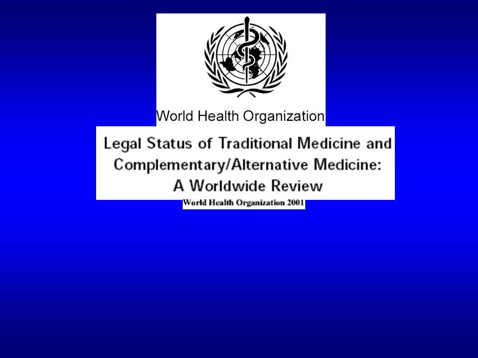 WHO Traditional Medicine Strategy 2002–2005 objectives, components and expected outcomes ObjectivesComponents Expected outcomes POLICY: Integrate TM/CAM with national health care systems, as appropriate, by developing and implementing national TM/CAM policies and programs 1.