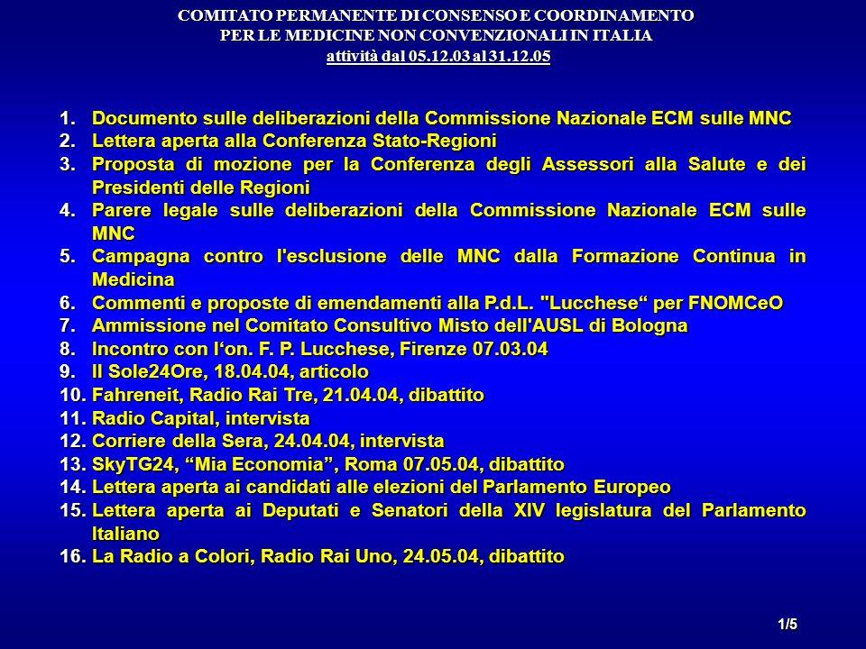 1.Documento sulle deliberazioni della Commissione Nazionale ECM sulle MNC 2.Lettera aperta alla Conferenza Stato-Regioni 3.Proposta di mozione per la