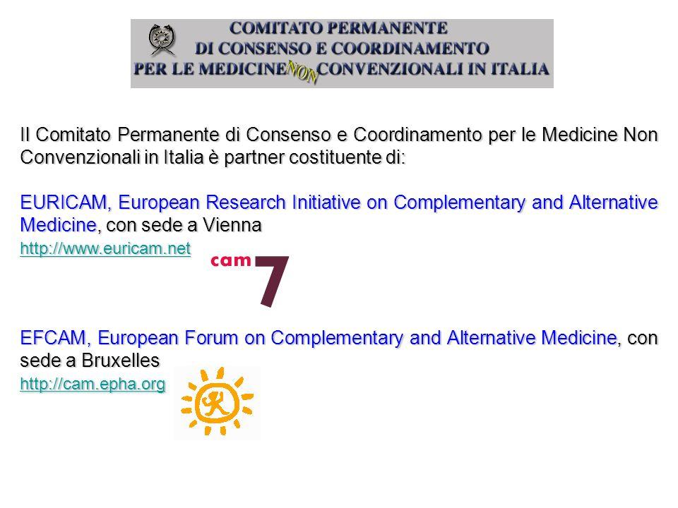 Il Comitato Permanente di Consenso e Coordinamento per le Medicine Non Convenzionali in Italia è partner costituente di: EURICAM, European Research In