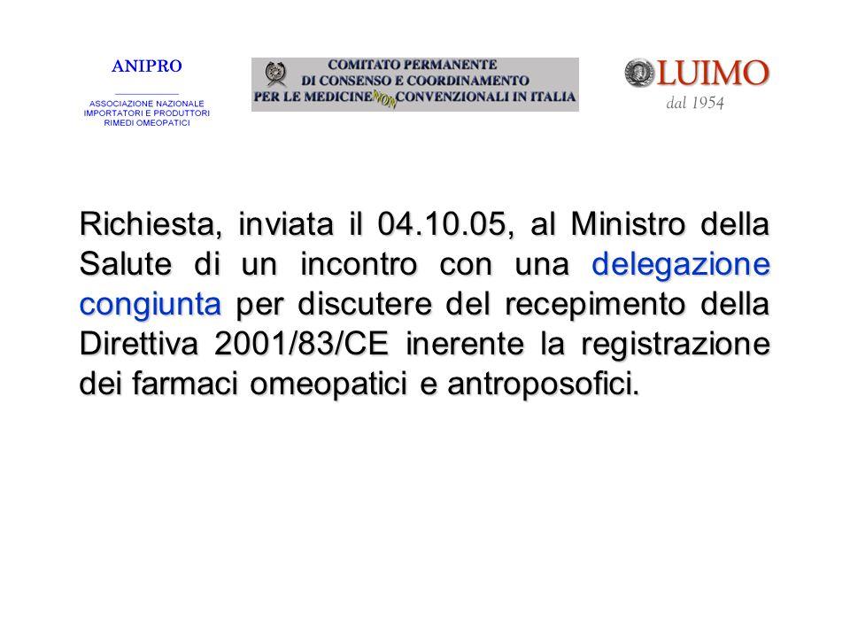 Richiesta, inviata il 04.10.05, al Ministro della Salute di un incontro con una delegazione congiunta per discutere del recepimento della Direttiva 20