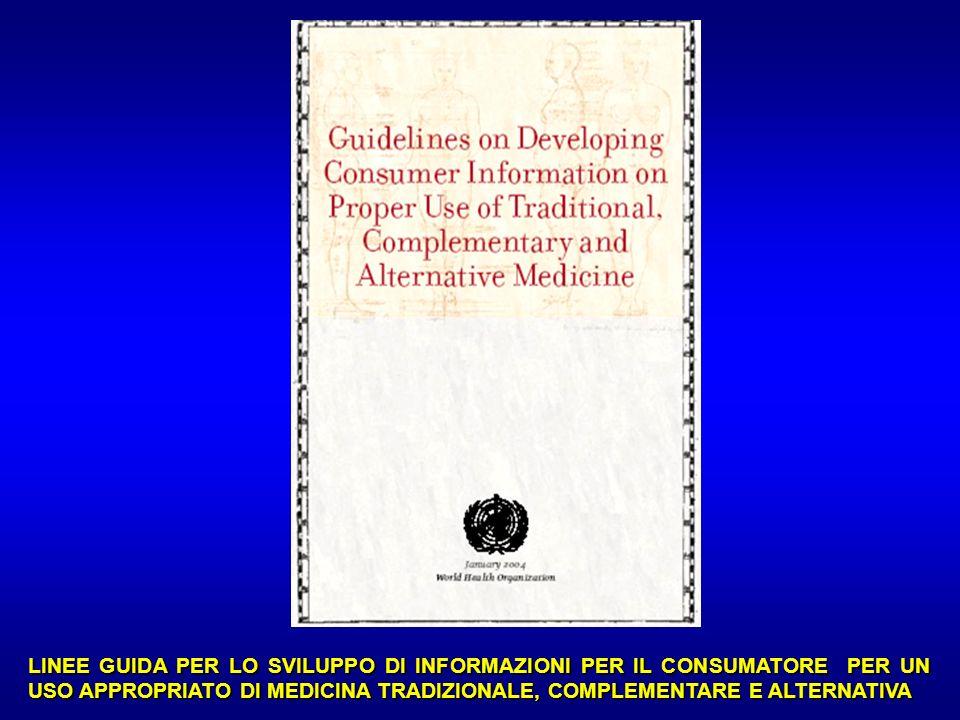…omissis Le medicine e le pratiche non convenzionali ritenute in Italia come rilevanti da un punto di vista sociale sia sulla base delle indicazioni della Risoluzione n.