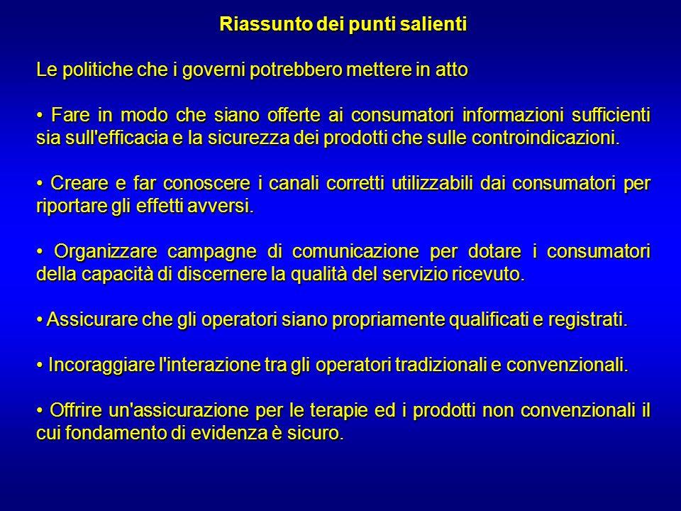 Riassunto dei punti salienti Le politiche che i governi potrebbero mettere in atto Fare in modo che siano offerte ai consumatori informazioni sufficie