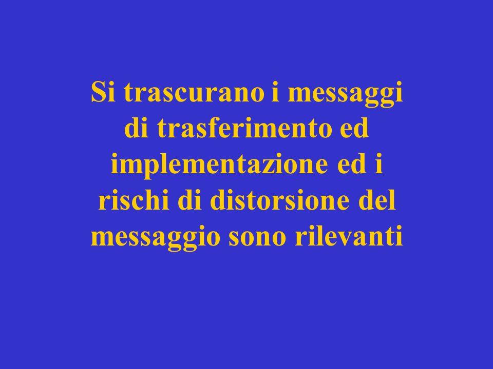 Si trascurano i messaggi di trasferimento ed implementazione ed i rischi di distorsione del messaggio sono rilevanti