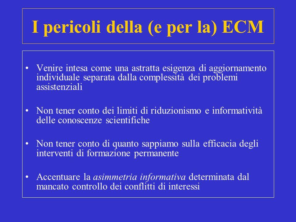 I pericoli della (e per la) ECM Venire intesa come una astratta esigenza di aggiornamento individuale separata dalla complessità dei problemi assisten