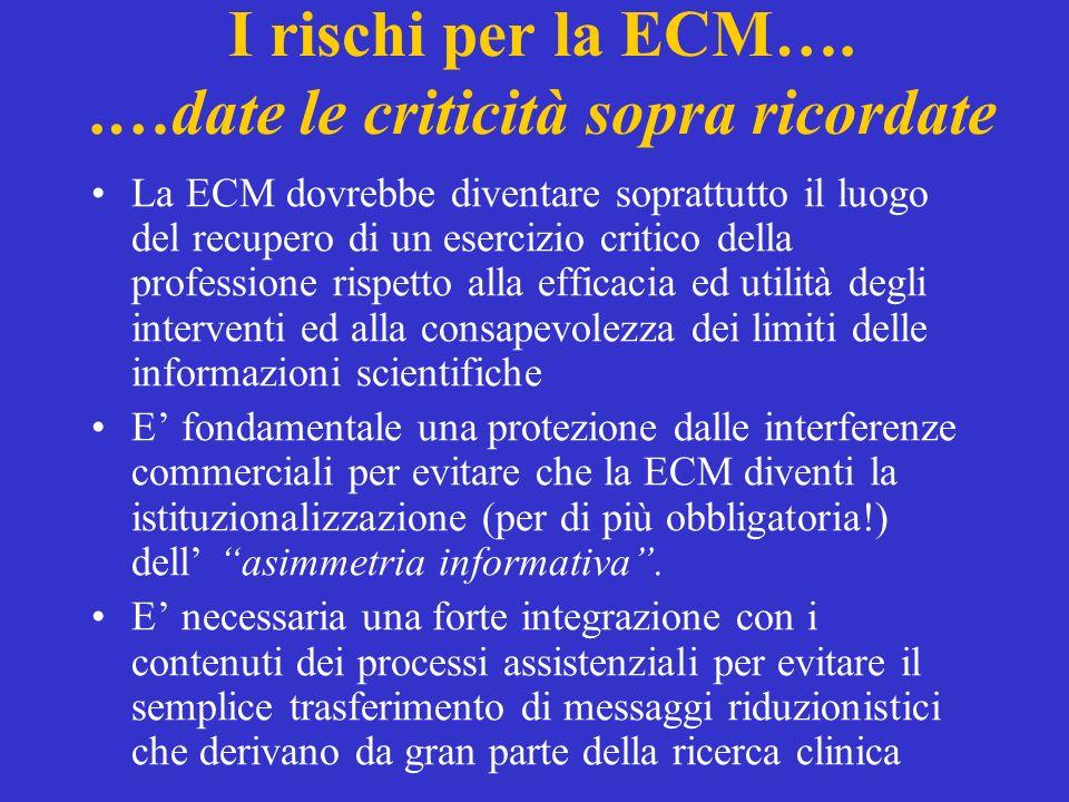 I rischi per la ECM…..…date le criticità sopra ricordate La ECM dovrebbe diventare soprattutto il luogo del recupero di un esercizio critico della pro