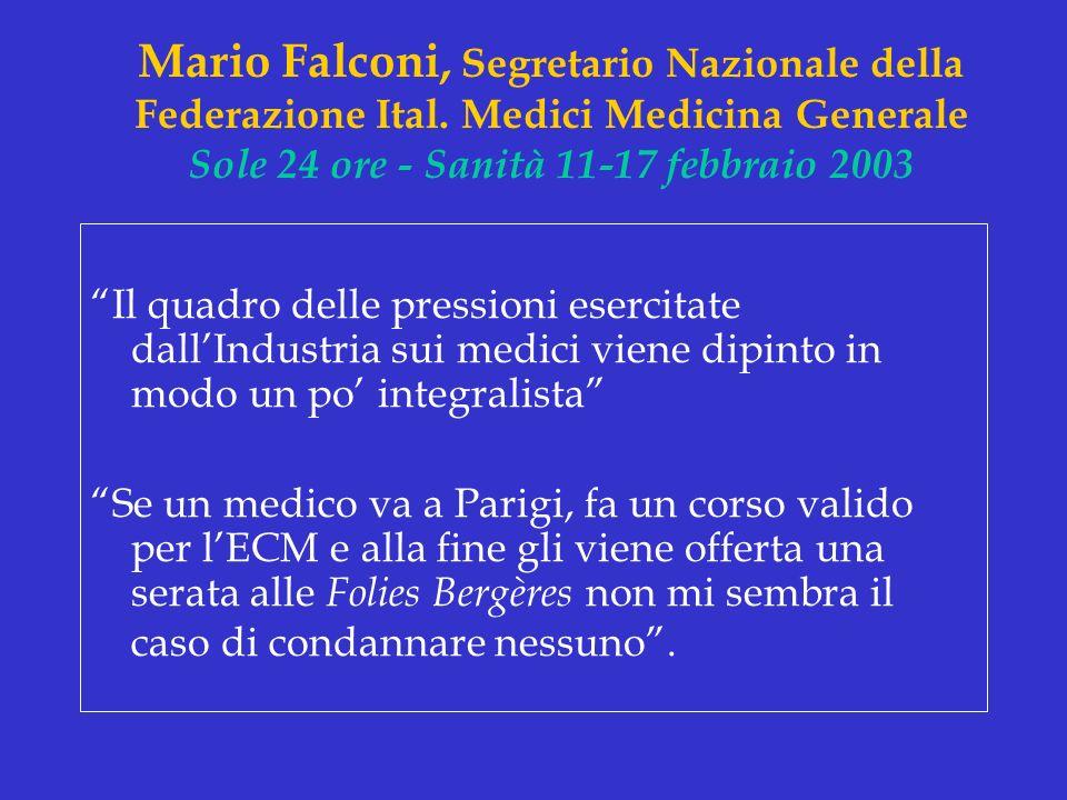 Mario Falconi, Segretario Nazionale della Federazione Ital. Medici Medicina Generale Sole 24 ore - Sanità 11-17 febbraio 2003 Il quadro delle pression