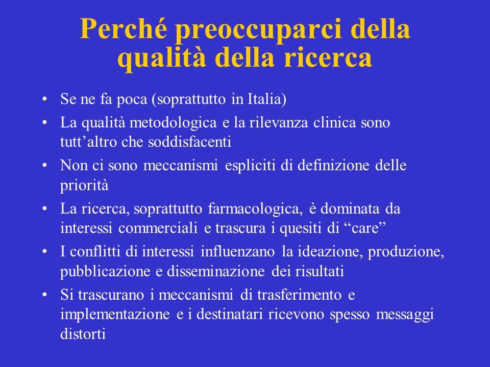 Perché preoccuparci della qualità della ricerca Se ne fa poca (soprattutto in Italia) La qualità metodologica e la rilevanza clinica sono tuttaltro ch